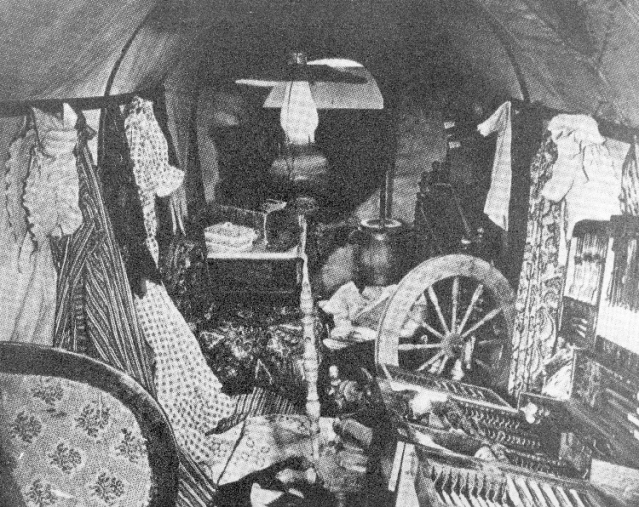 inside covered wagon